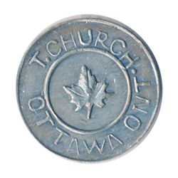 T. Church Token. Bow. 1-24. White metal. Plain edge. Thick. 8.1 gms. UNC.
