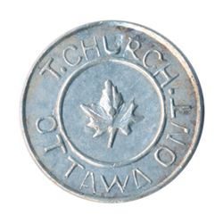 T. Church Token. Bow. 1-26. White metal. Plain edge. Thick. 7.4 gms. AU+.