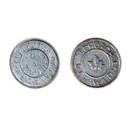 T. Church Token. Bow. 1-31. White metal. Plain edge. Thin/ Medium Thick. 6.3 gms. UNC. Ten examples