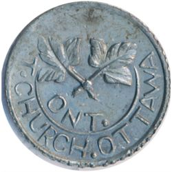T. Church Token. Bow. 4-26. White metal. Plain edge. Thin. 5.1 gms. AU.