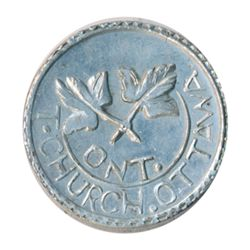 T. Church Token. Bow. 4-28. White metal. Plain edge. Thick. 7.7 gms. UNC.