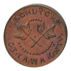 T. Church Token. Bow. 5-33. Copper. Plain edge. Thick. 13.4 gms. UNC. Brown.