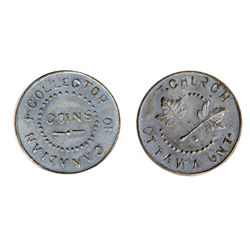 T. Church Token. Bow. 5-33. White metal. Plain edge. Medium Thick. 9.2 gms. UNC. Four examples struc