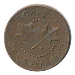 T. Church Token. Bow. 5-34. Copper. Plain edge. Thin. 7.1 gms. UNC. Lustrous Brown. Eight examples s