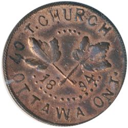 T. Church Token. Bow. 6-25. Copper. Reeded edge. Medium Thick. 8.0 gms. UNC. 50% luster.