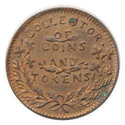 T. Church Token. Bow. 6-25. Copper. Reeded edge. Thin. 6.9 gms. UNC. 60% luster.