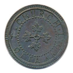 T. Church Token. Bow. 7-24. Copper. Plain edge. Medium Thick. 7.7 gms. UNC. 30% luster.