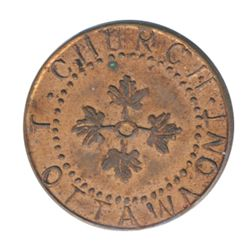 T. Church Token. Bow. 8-27. Copper. Plain edge. Thin. 4.4 gms. UNC. 60% luster.
