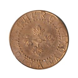 T. Church Token. Bow. 8-27. Copper. Plain edge. Thin. 4.5 gms. UNC. 70% luster.