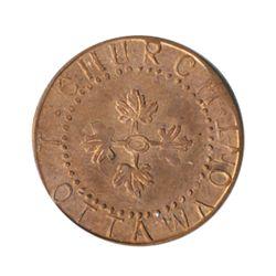 T. Church Token. Bow. 8-27. Copper. Plain edge. Thin. 4.5 gms. UNC. 70% luster.