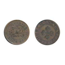 T. Church Token. Bow. 8-27. Copper. Plain edge. Very Thick. 13.3 gms. UNC. 10% luster. The thickest