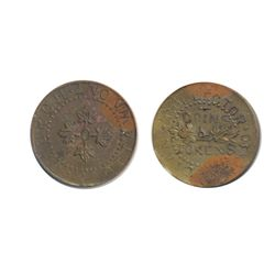 T. Church Token. Bow. 8-27. Copper. Plain edge. Medium Thick. 7.0 gms. UNC. 20% luster. Some heavy t