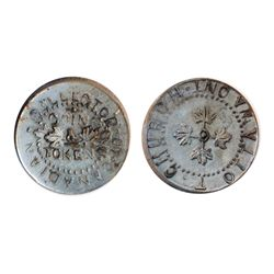 T. Church Token. Bow. 8-27. White metal. Plain edge. Thick. 11.3 gms. AU. (Three examples in the Bow