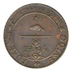 T. Church Token. Bow. 10-43. Copper. Reeded edge. Thin. 7.2 gms. UNC. Trace of luster.