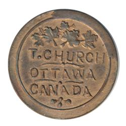 T. Church Token. Bow. 13-24. Copper. Plain edge. Thin. 7.8 gms. UNC. 60% luster.