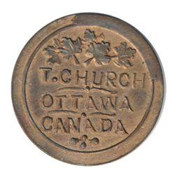 T. Church Token. Bow. 13-24. Copper. Plain edge. Thin. 7.8 gms. UNC. 60% luster.