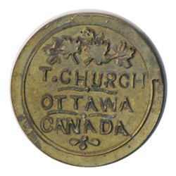 T. Church Token. Bow. 13-24. Brass. Plain edge. Thin. 6.4 gms. UNC. 20% luster. Ten struck).