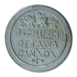 T. Church Token. Bow. 13-24. White metal. Plain edge. Thin. 6.5 gms. UNC. Nine examples struck.
