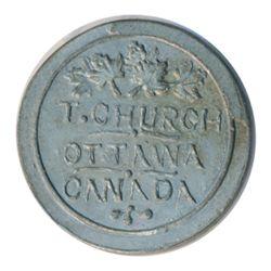 T. Church Token. Bow. 13-24. White metal. Plain edge. Thin. 6.5 gms. UNC. Nine examples struck.