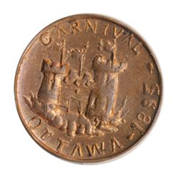 T. Church Token. Bow. 14-50. Copper. Plain edge. Thin. 10.8 gms. UNC. 70% luster.