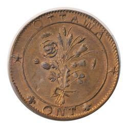 T. Church Token. Bow. 41-43. Copper. Plain edge. Medium Thick. 10.4 gms. UNC. 50% luster.