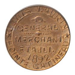 T. Church Token. Bow. 42-47. Copper. Plain edge. Thin. 6.9 gms. UNC. 60% luster.