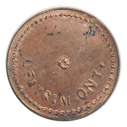 T. Church Token. Bow. 53-54. Copper. Plain edge. Thin. 7.0 gms. UNC. 40% luster.