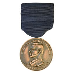 Patrick Ashley Cooper, Thirtieth Governor. 1934 visit medal. AE. 39mm, with blue ribbon and hanger.