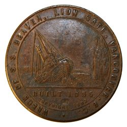 H.B.C. S.S. Beaver souvenir medal by C.W. McCain. 1892. AE. 42mm. Edge serial-numbered 420. Ler. Sup