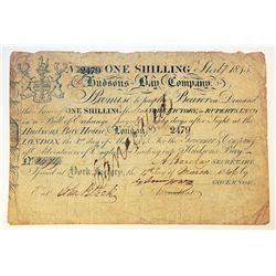 HUDSON'S BAY COMPANY. One Shilling. York Factory Issue. London Date: 1 May, 1845. York Date: 4 Mar,