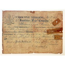 HUDSON'S BAY COMPANY. One Shilling. York Factory Issue. London Date: 1 May, 1846. York Date: 1 May,