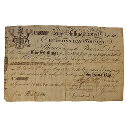 HUDSON'S BAY COMPANY. Five Shillings. York Factory Issue. London Date: 4 May, 1820. York Date: 1 Sep