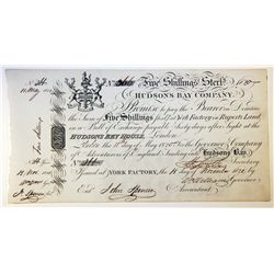 HUDSON'S BAY COMPANY. Five Shillings. York Factory Issue. London Date: 11 May, 1820. York Date: 15 N