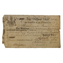 HUDSON'S BAY COMPANY. Five Shillings. York Factory Issue. London Date: 17 May, 1820. York Date: 1 Se