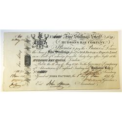 HUDSON'S BAY COMPANY. Five Shillings. York Factory Issue. London Date: 11 May, 1820. York Date: 1 Ju