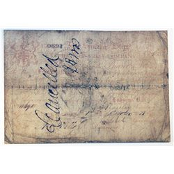 HUDSON'S BAY COMPANY. Five Shillings. York Factory Issue. London Date: 1 May, 1850. York Date: 1 Oct