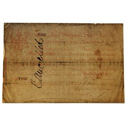 HUDSON'S BAY COMPANY. Five Shillings. York Factory Issue. London Date: 1 June, 1857. York Date: 20 O
