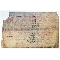 HUDSON'S BAY COMPANY. Five Shillings. York Factory Issue. London Date: 1 June, 1857. York Date: 20 M
