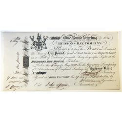 HUDSON'S BAY COMPANY. One Pound. York Factory Issue. London Date: 4 May, 1820. York Date: 17 Nov., 1