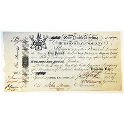 HUDSON'S BAY COMPANY. One Pound. York Factory Issue. London Date: 4 May, 1820. York Date: 7 June, 18