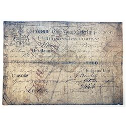 HUDSON'S BAY COMPANY. One Pound. York Factory Issue. London Date: May, 1850. York Date: 1 Oct., 1851
