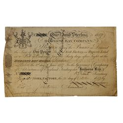 HUDSON'S BAY COMPANY. One Pound. York Factory Issue. London Date: 1 June, 1857. York Date: 20 Oct.,