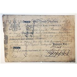 HUDSON'S BAY COMPANY. One Pound. York Factory Issue. London Date: 1 June, 1857. York Date: 20 Nov.,