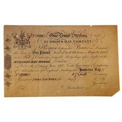 HUDSON'S BAY COMPANY. One Pound. York Factory Issue. London Date: (1 June), 1870. York Date: (7 Oct,