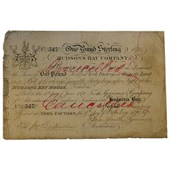 HUDSON'S BAY COMPANY. One Pound. York Factory Issue. London Date: 1 June, 1870. York Date: 7 Oct., 1