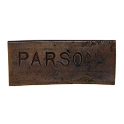 Ralph Parsons (Hudson Strait). Copper token. Small rectangular token, with full name 'PARSONS' on on