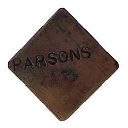 Ralph Parsons (Hudson Strait). Copper token. Large square token, with full name 'PARSONS' on one sid