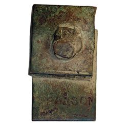 Ralph Parsons (Hudson Strait). Copper token. Very large rectangular token, with name 'PARSON' and 'O