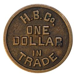 HUDSON'S BAY COMPANY. H.B.C. Co/ONE DOLLAR/IN/TRADE. Biface. Copper. 31mm. A so-called cast token. I