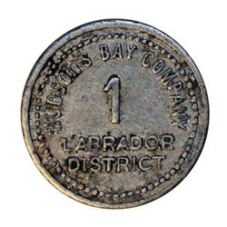 HUDSON'S BAY COMPANY. Labrador District. 1 MB token. Gingras-255. Tin. Uniface. 21mm. (The Labrador